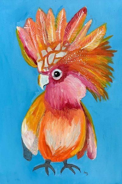 Student artwork of a galah