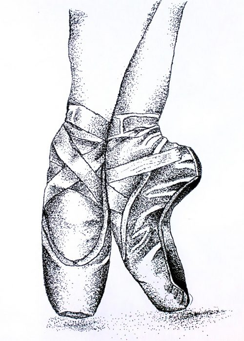 Student artwork of ballet shoes