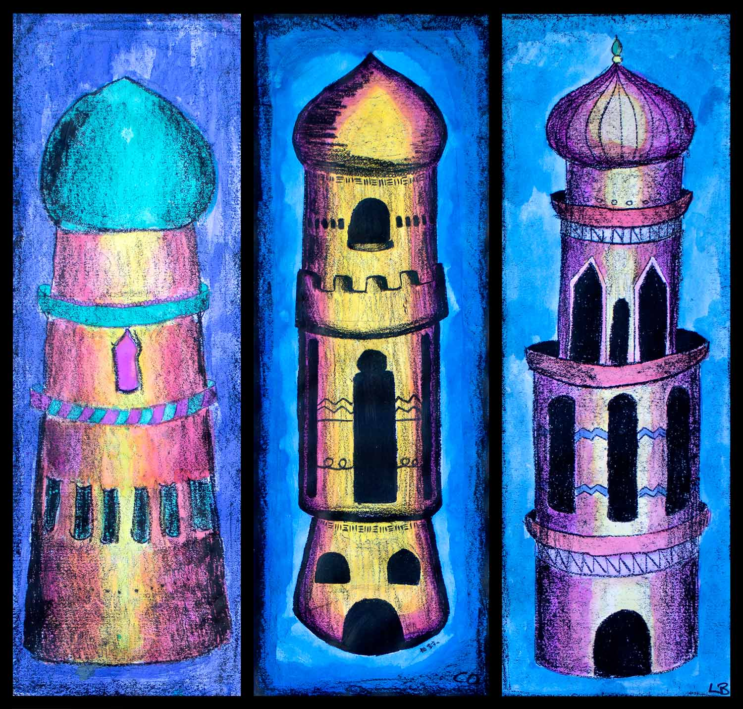 Student artwork of towers