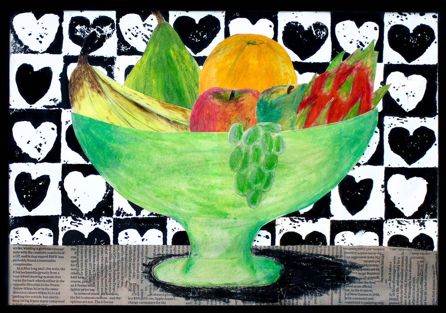 Student artwork of a still life with fruit bowl