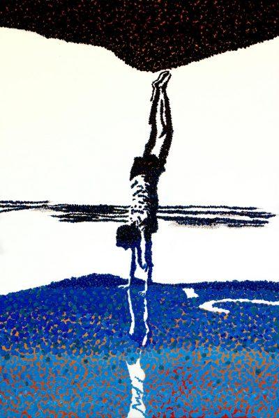 Student artwork of a boy doing a handstand