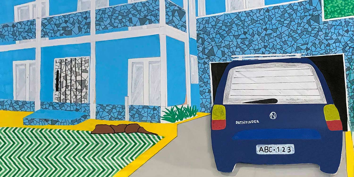 Student artwork of a car parked in a garage