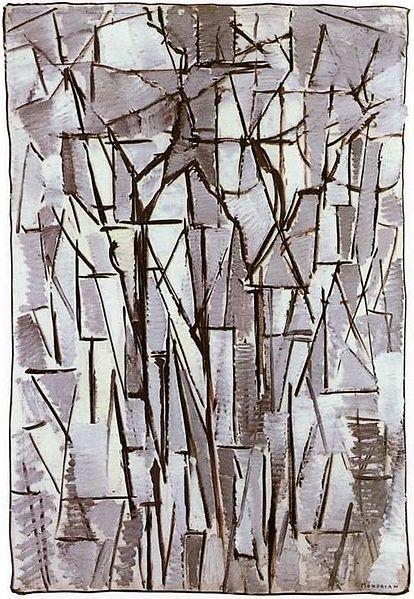 Piet Mondrian painting Composition Trees II