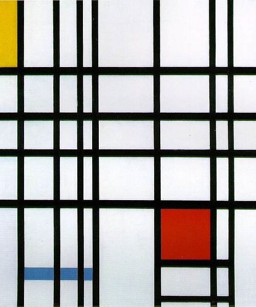 Piet Mondrian painting Composition with Red, Yellow and Blue