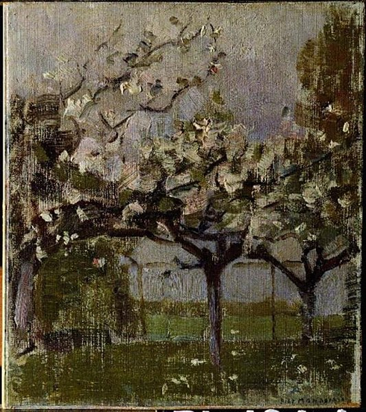 Piet Mondrian painting Blossoming Trees before a Haystack