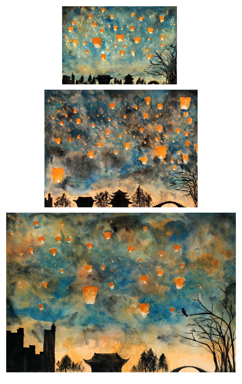 Student artwork of lantern-lit nights