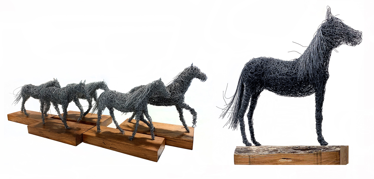 Student artwork of wire horse sculptures