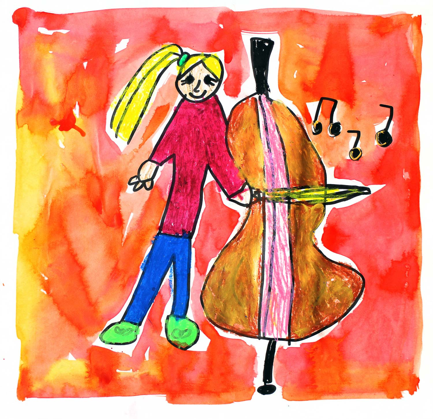 Student artwork of a girl playing a double bass
