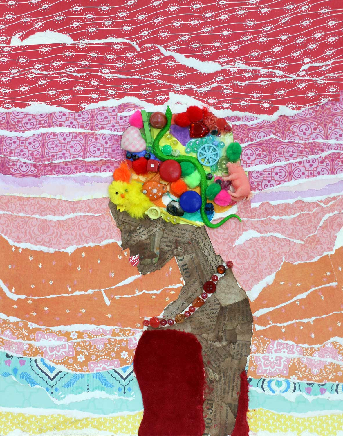 Student artwork of a female wearing a headdress made from found objects