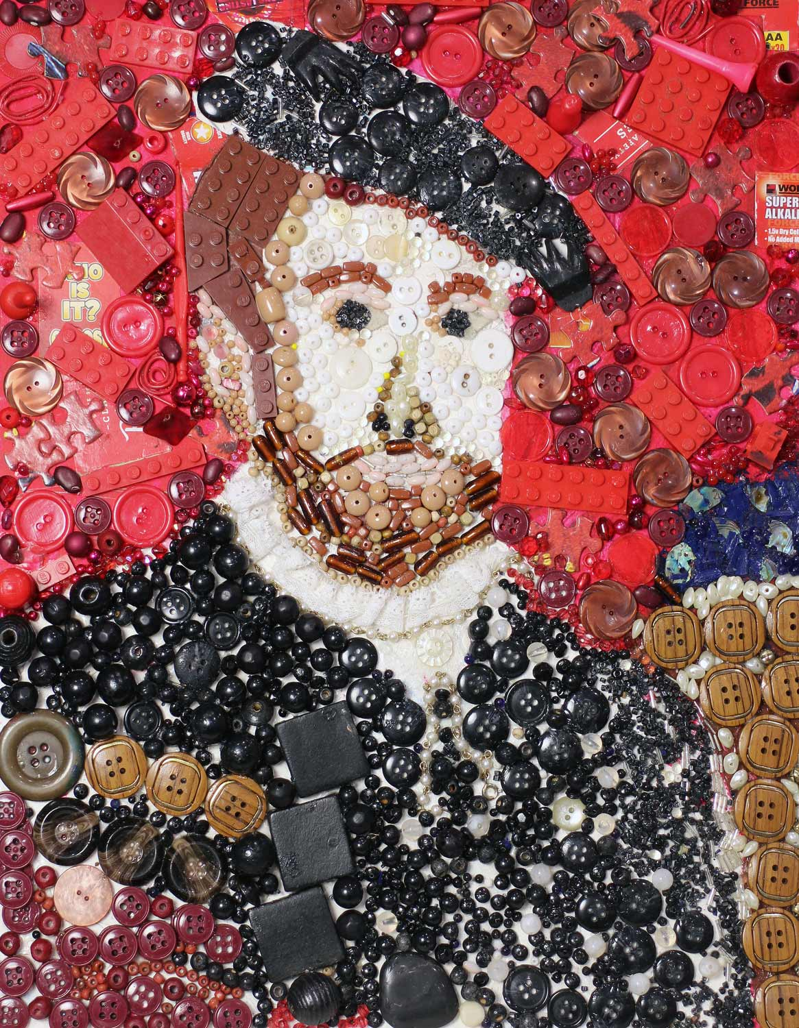 Student artwork of a collage of a man in buttons