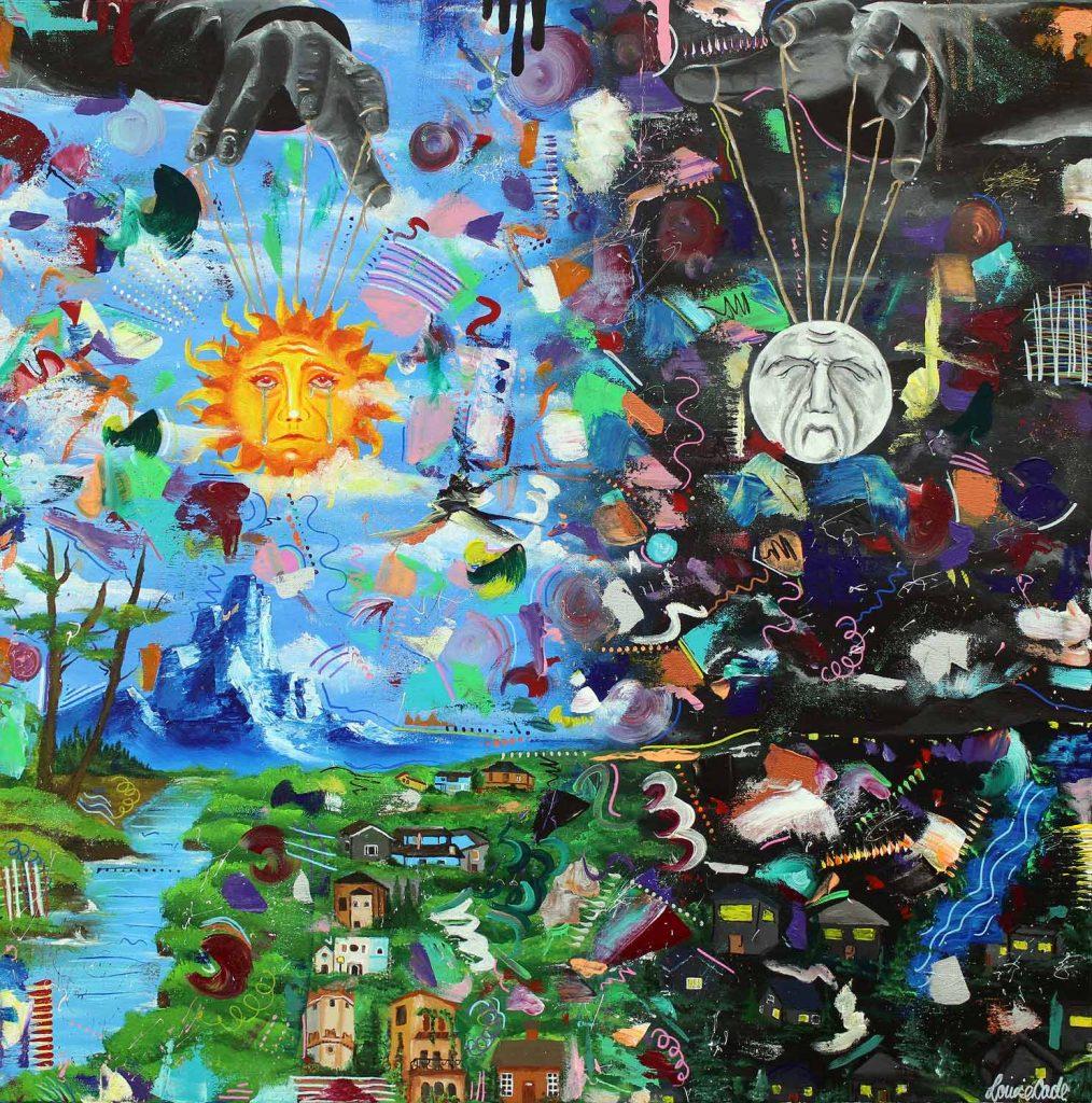 Student artwork of a solar and lunar landscape