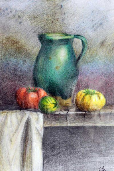 Student artwork of a still life with tomatoes