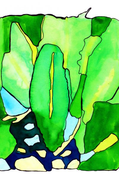 Student artwork of watercolour green leaves