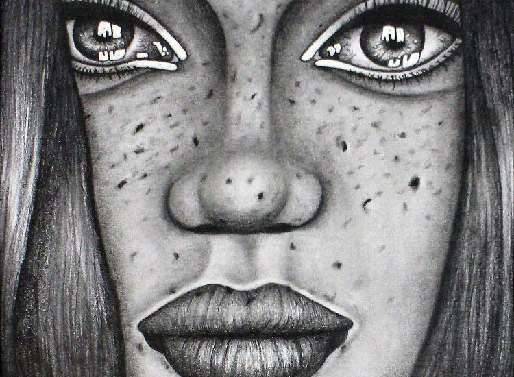Student artwork of close-up portrait of a girl