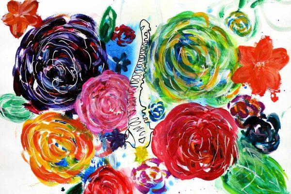 Student artwork of flowers