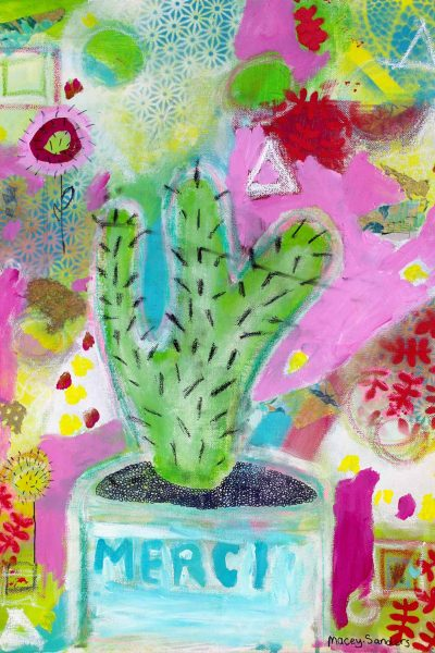 Student artwork of a cactus in a pot