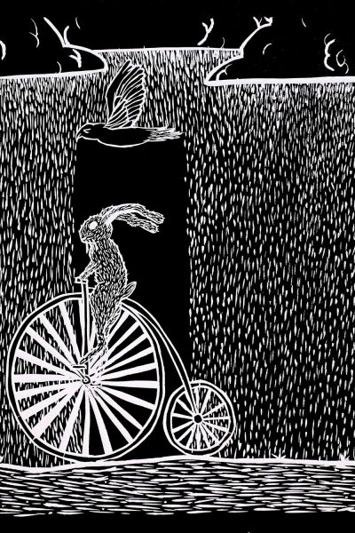 Student artwork of a rabbit riding a penny farthing