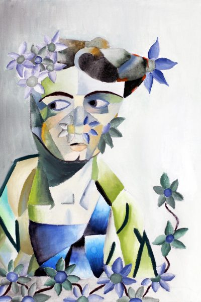 Student artwork of surrealist portrait with flowers