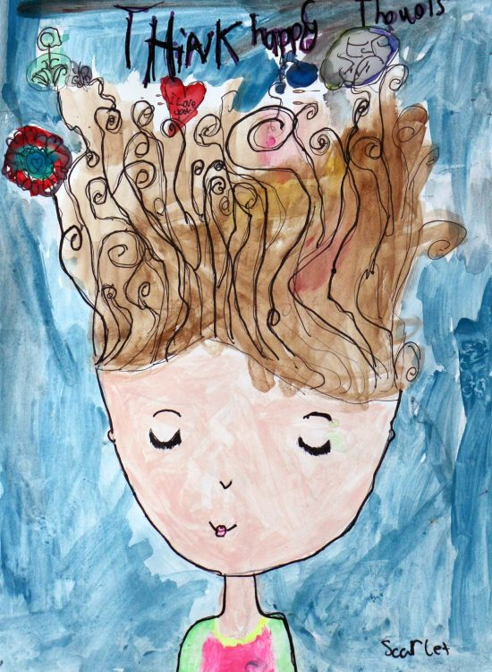 Student artwork of a girl thinking happy thoughts